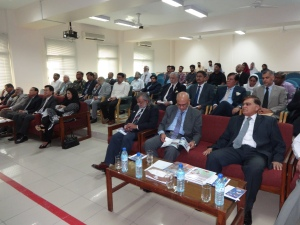 Guests of Maritime Discourse listening to the presentation of Director NCMPR Capt. Tariq Masood