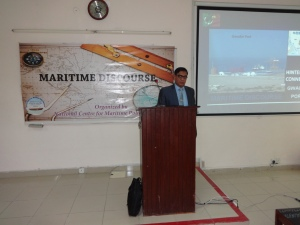 "Director NCMPR giving presentation on ""hinterland connectivity of Gwadar Port"